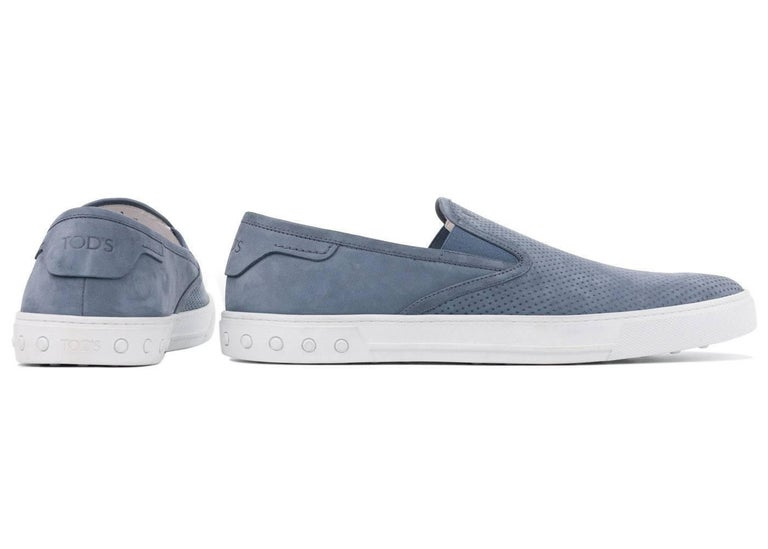 Tod's Men's Blue Perforated Suede Slip On Sneakers In Excellent Condition For Sale In Brooklyn, NY