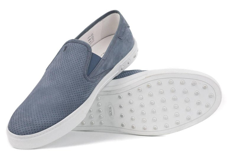 Tod's Men's Blue Perforated Suede Slip On Sneakers For Sale 1