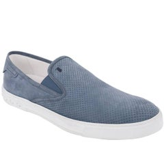 Tod's Men's Blue Perforated Suede Slip On Sneakers