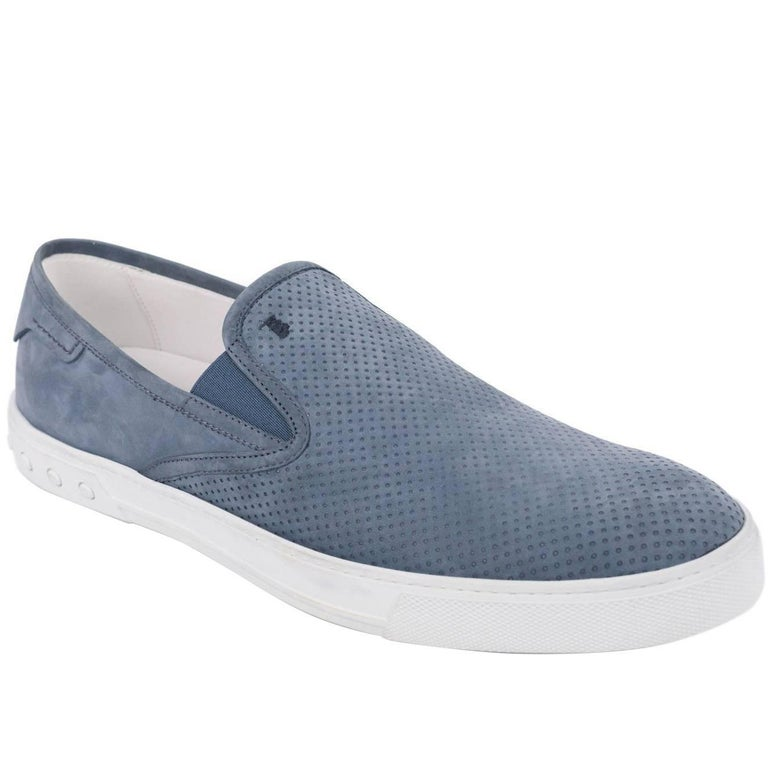 Tod's Men's Blue Perforated Suede Slip On Sneakers For Sale