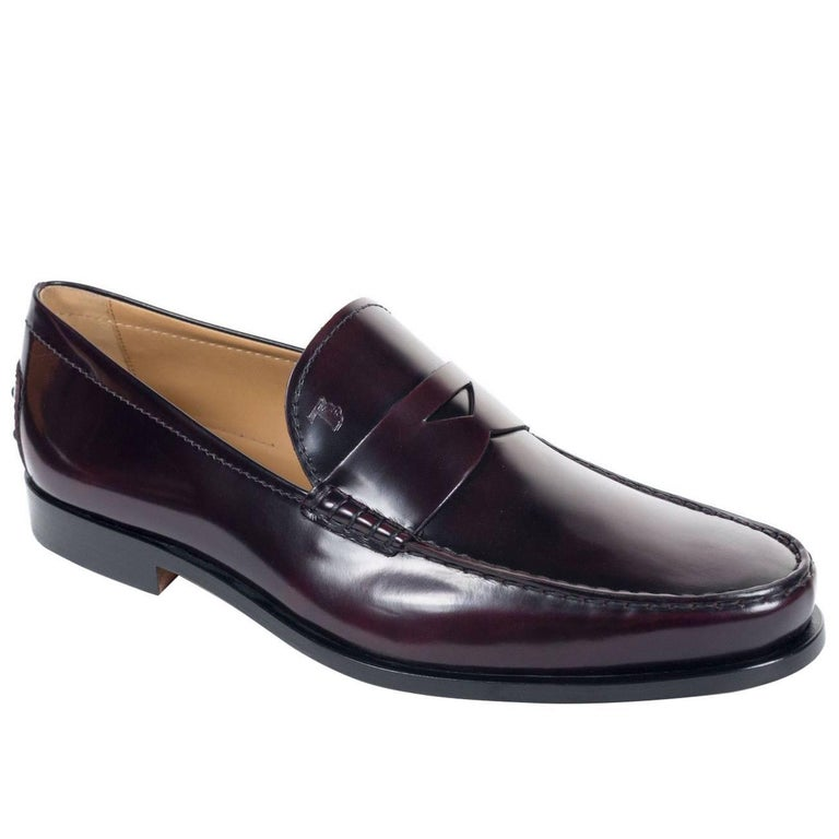 TOD'S Mens Burgundy Boston Polished Leather Penny Loafers For Sale