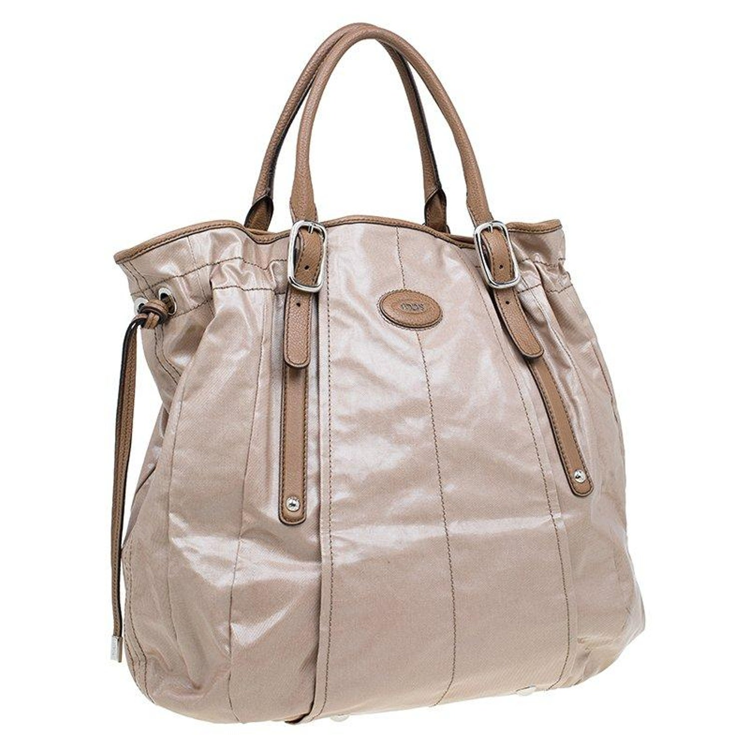 b2acdf144ab41 Tod's Metallic Beige Coated Canvas G-Bag Easy Sacca Grande Tote For Sale at  1stdibs