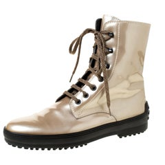 Tod's Metallic Beige Patent Leather Lace Up Boots Size 39.5