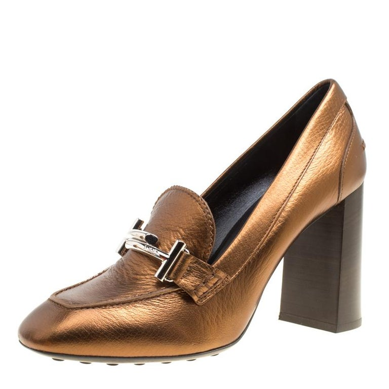 031f8174700 Tod s Metallic Bronze Leather Gomma Maxi Double T Court Loafer Pumps Size  39 For Sale