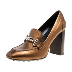 Tod's Metallic Bronze Leather Gomma Maxi Double T Court Loafer Pumps Size 40