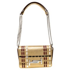 Tod's Metallic Gold Leather Shoulder Bag