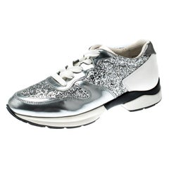 Tod's Metallic Silver Glitter And Leather Sportivo Lace Up Sneakers Size 36