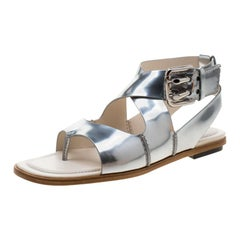 Tod's Metallic Silver Leather Cross Strap Flat Sandals Size 37.5