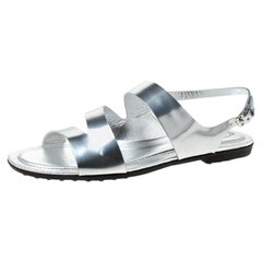 Tod's Metallic Silver Leather Flat Sandals Size 37.5