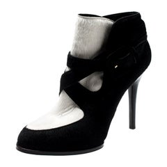 Tod's Monochrome Calf Hair Cross Strap Buckle Detail Ankle Boots Size 37.5