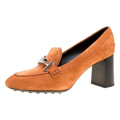 Tod's Orange Suede Gomma Maxi Double T Court Loafer Pumps Size 40