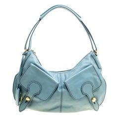 Tod's Pale Blue Leather Benji Sacca Hobo