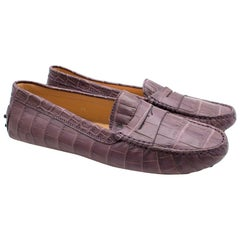 119d02208b9 Tod's Purple Crocodile-effect Leather Loafers 39