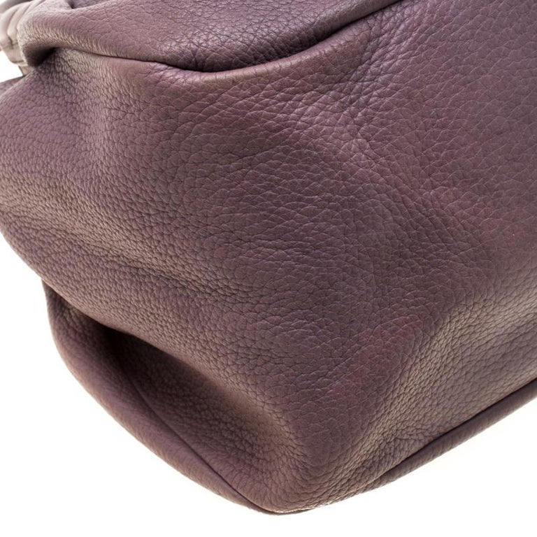 Tod's Purple Leather Ivy Sacca Media Hobo For Sale 5