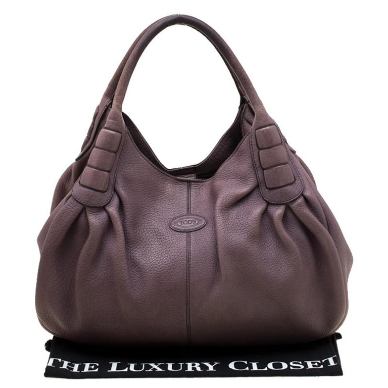 Tod's Purple Leather Ivy Sacca Media Hobo For Sale 7