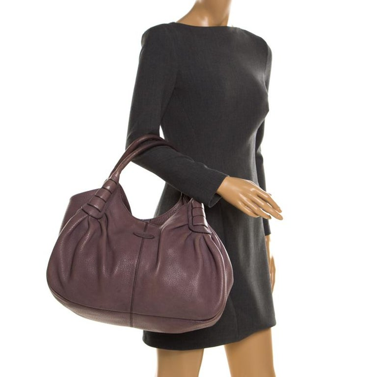 Black Tod's Purple Leather Ivy Sacca Media Hobo For Sale