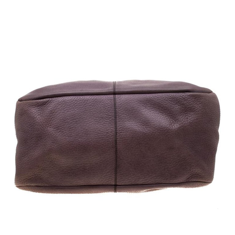Women's Tod's Purple Leather Ivy Sacca Media Hobo For Sale