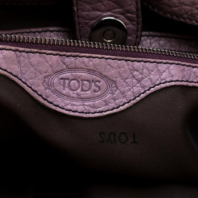 Tod's Purple Leather Ivy Sacca Media Hobo For Sale 1