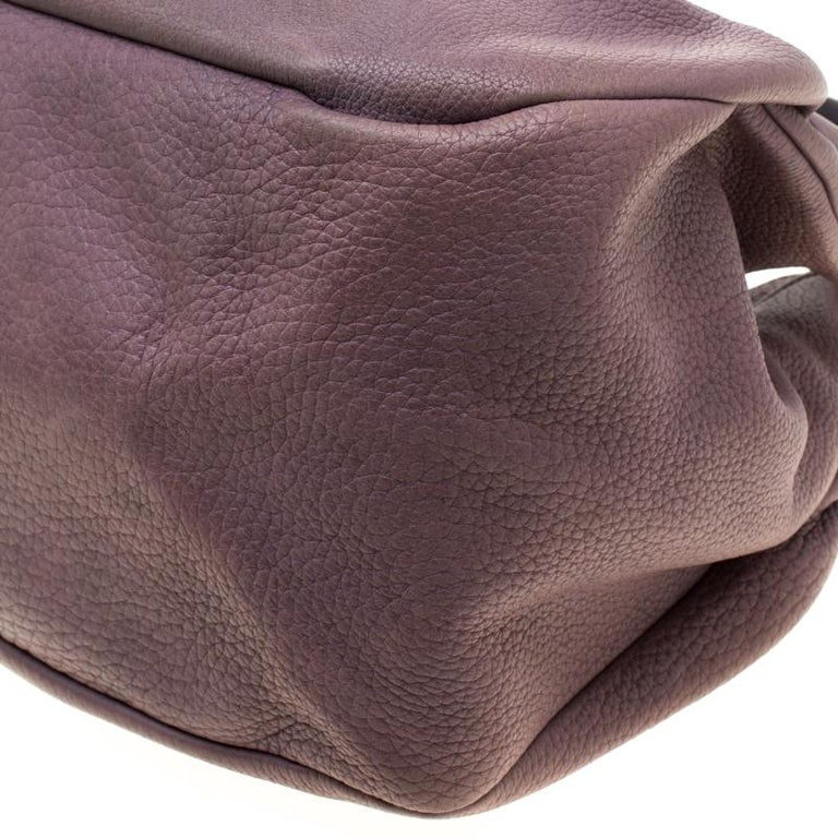 Tod's Purple Leather Ivy Sacca Media Hobo For Sale 2