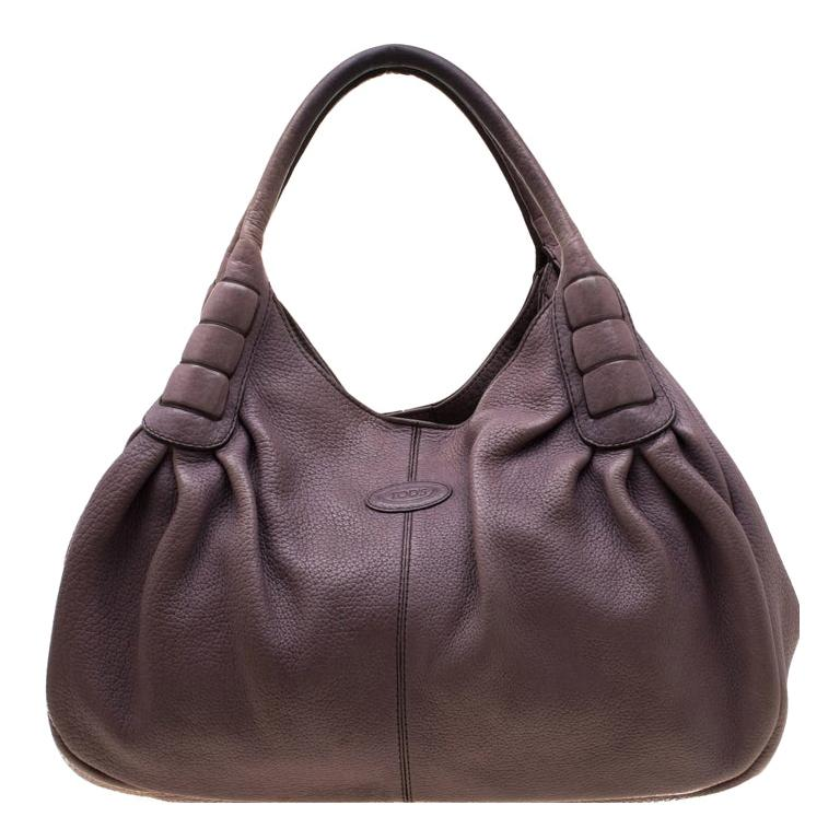 Tod's Purple Leather Ivy Sacca Media Hobo For Sale