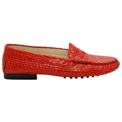 Tod's Red Snakeskin Round-Toe Loafers