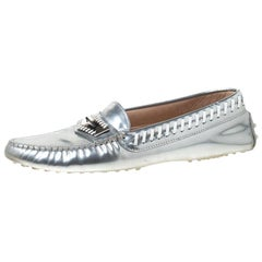 Tod's Silver Metallic Stitched Leather Gommino Loafers Size 39.5