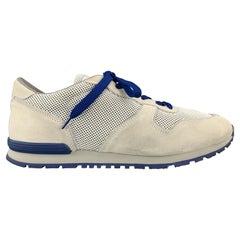 TOD'S Size 10 Light Grey & Blue Suede Lace Up Sneakers