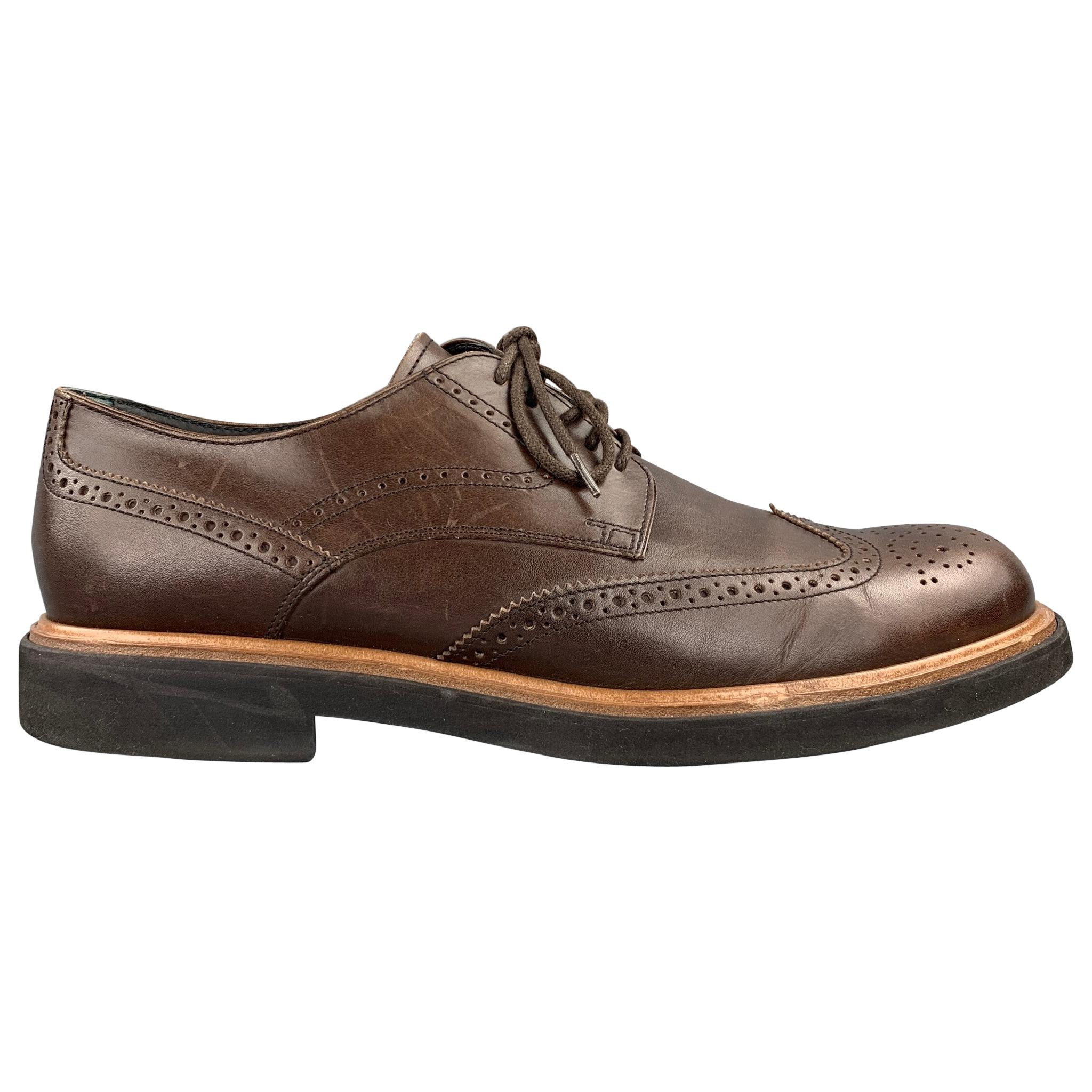 TOD'S Size 10.5 Brown Perforated Wingtip Leather Lace Up Shoes