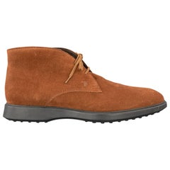 TOD'S Size 9.5 Tan Brown Suede Chukka Lace Up Boots