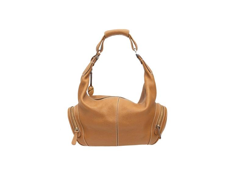 Brown Tod's Tan Leather Hobo Shoulder Bag For Sale