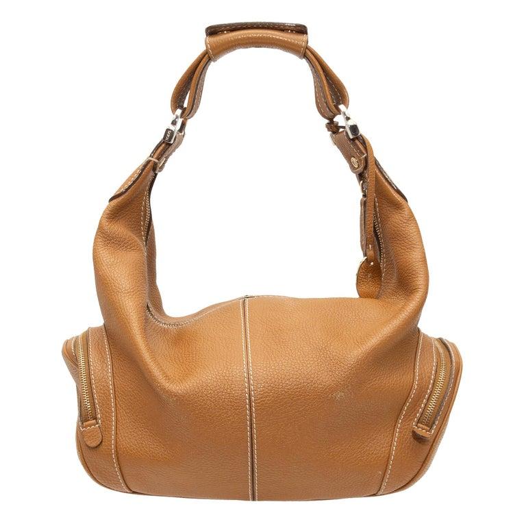 Tod's Tan Leather Hobo Shoulder Bag For Sale