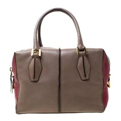 Tod's Taupe/Burgundy Leather D-Styling Medium Tote
