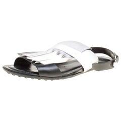 Tod's Tricolor Leather Fringe Flat Sandals Size 37