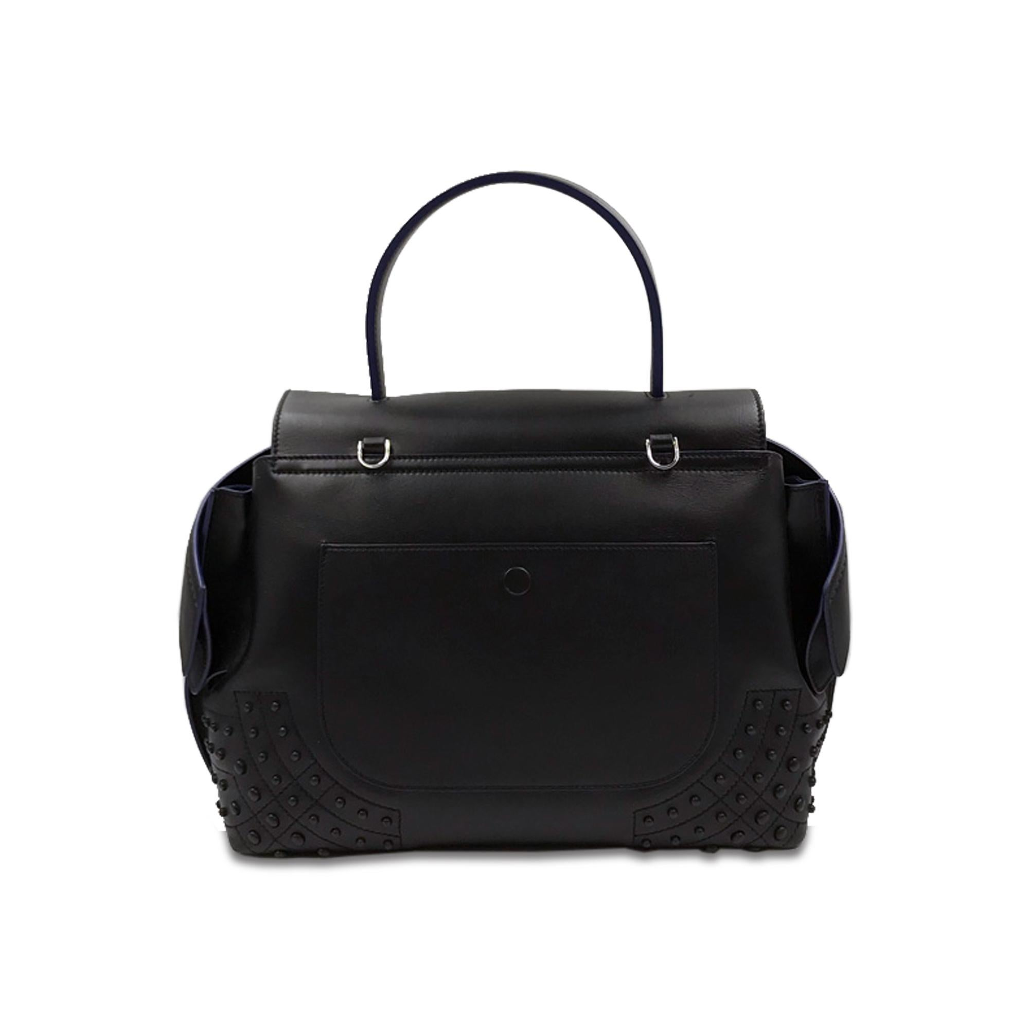 f277b60f6d6 Tod's Wave Mini Gommini Black Leather Satchel Ladies Handbag XBWAMRWG201  For Sale at 1stdibs