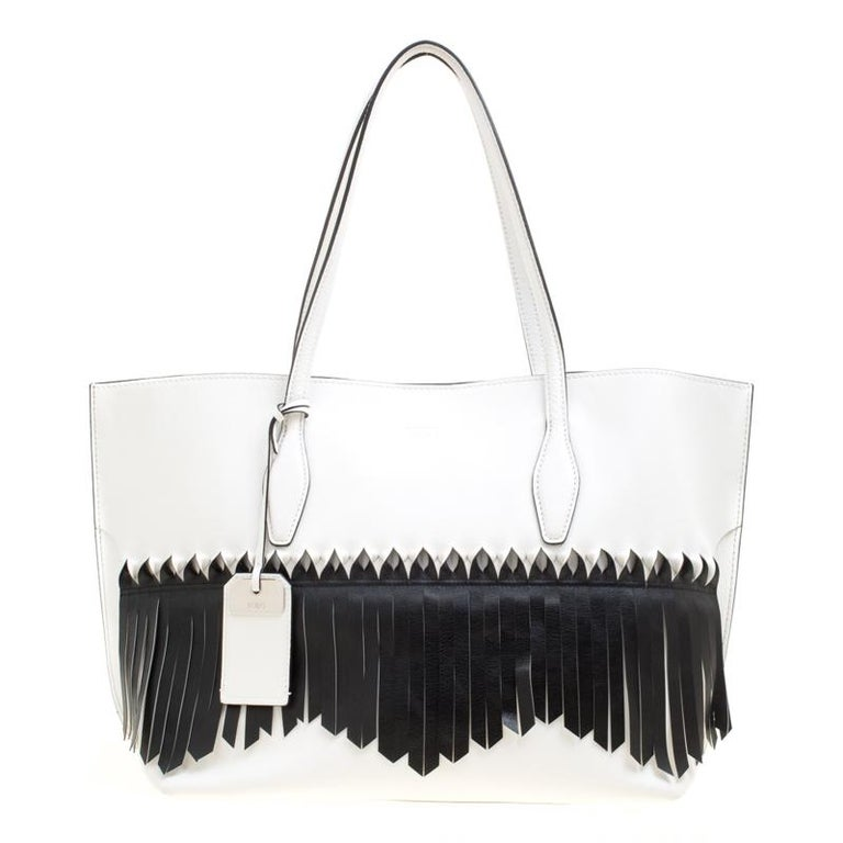 Tods Whiteblack Leather Origami Fringe Shopping Tote