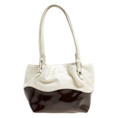 Tod's White/Brown Leather Small Flower Shopper Tote