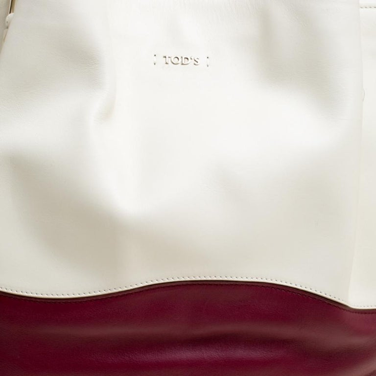 Tod's White/Burgundy Leather Medium Flower Tote For Sale 4