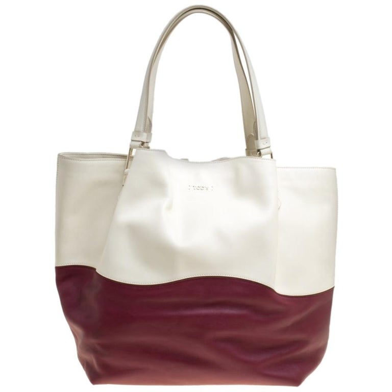 Tod's White/Burgundy Leather Medium Flower Tote For Sale