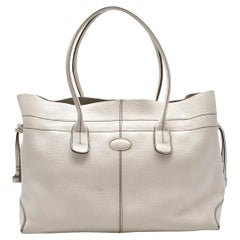 Tods White Leather D-bag Tote Bag