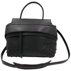 Tod's Women's Wave Mini Gommini Black Leather Satchel Ladies Handbag XBWAMRWG101