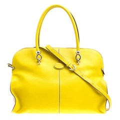 Tod's Yellow Leather Large Sella Top Handle Bag