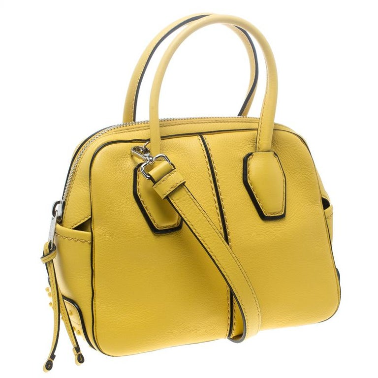 82ee6c5ed4f8 Tod s Yellow Leather Mini Nuovo Miky Top Handle Bag In New Condition For Sale  In Dubai