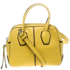 Tod's Yellow Leather Mini Nuovo Miky Top Handle Bag