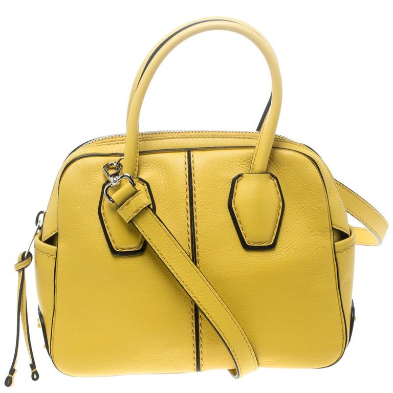 a3a783ad78e361 Tod's Yellow Leather Mini Nuovo Miky Top Handle Bag For Sale at 1stdibs