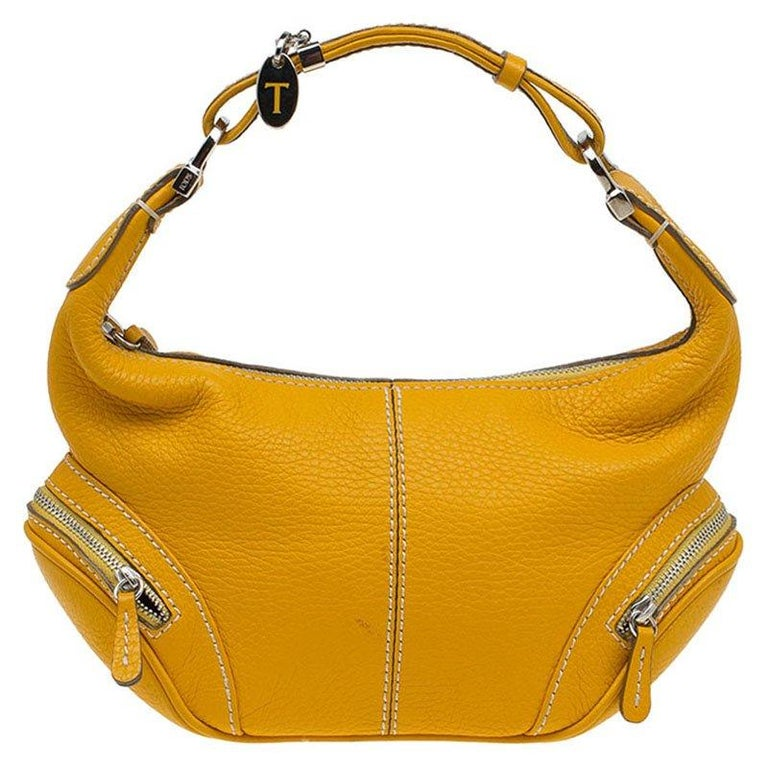 56645aa37a85 Tod s Yellow Leather Small Charlotte Hobo For Sale at 1stdibs