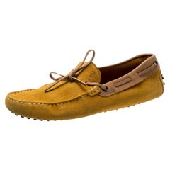 Tod's Yellow Suede And Beige Leather Trim Bow Loafers Size 42.5