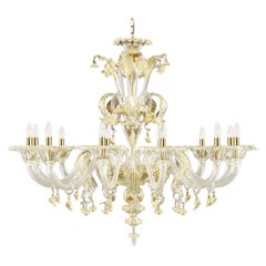 Artistic Murano Chandelier, 12 arms, clear Glass, Gold Details by Multiforme