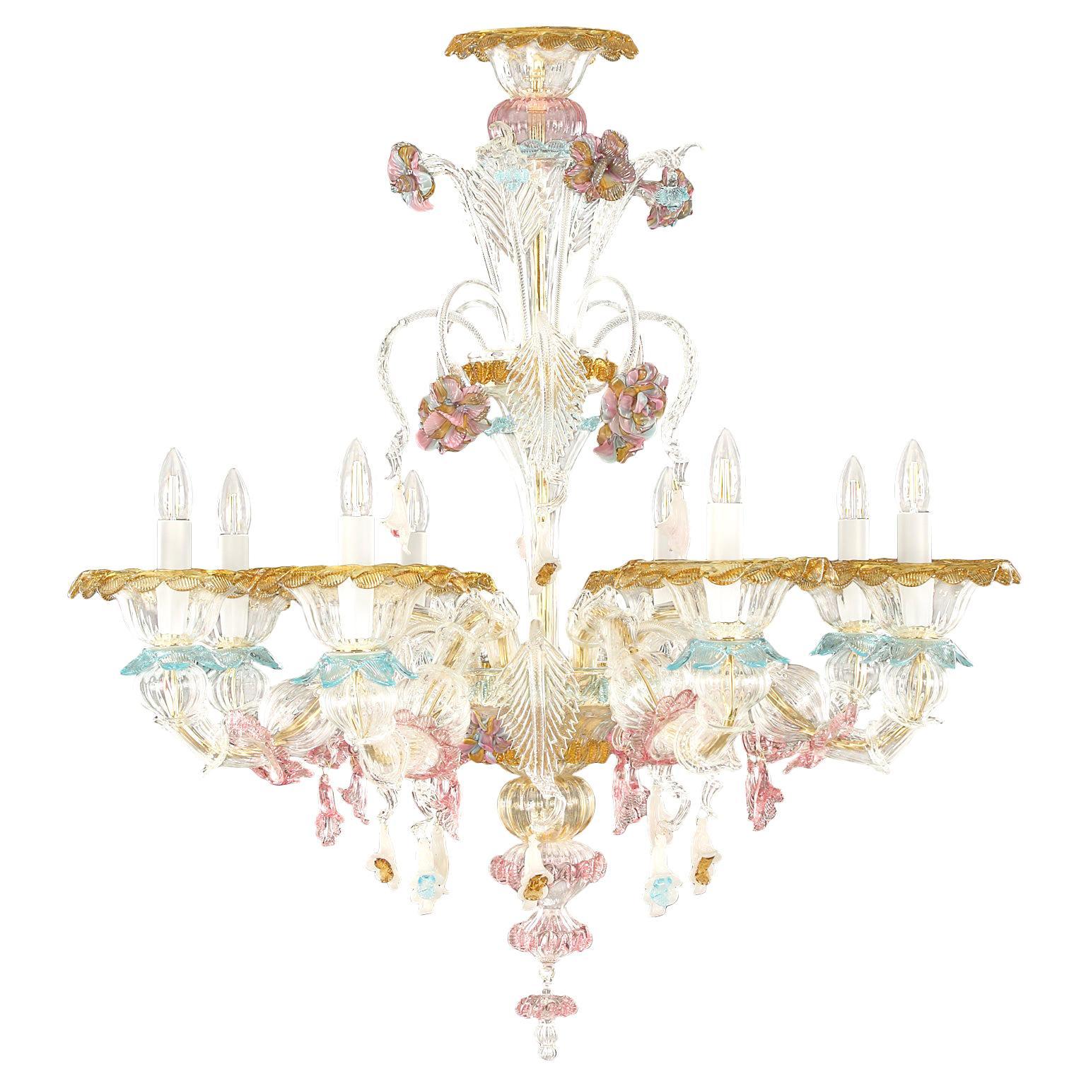 Artistic Murano Rezzonico Chandelier 8 arms Glass multicolour by Multiforme