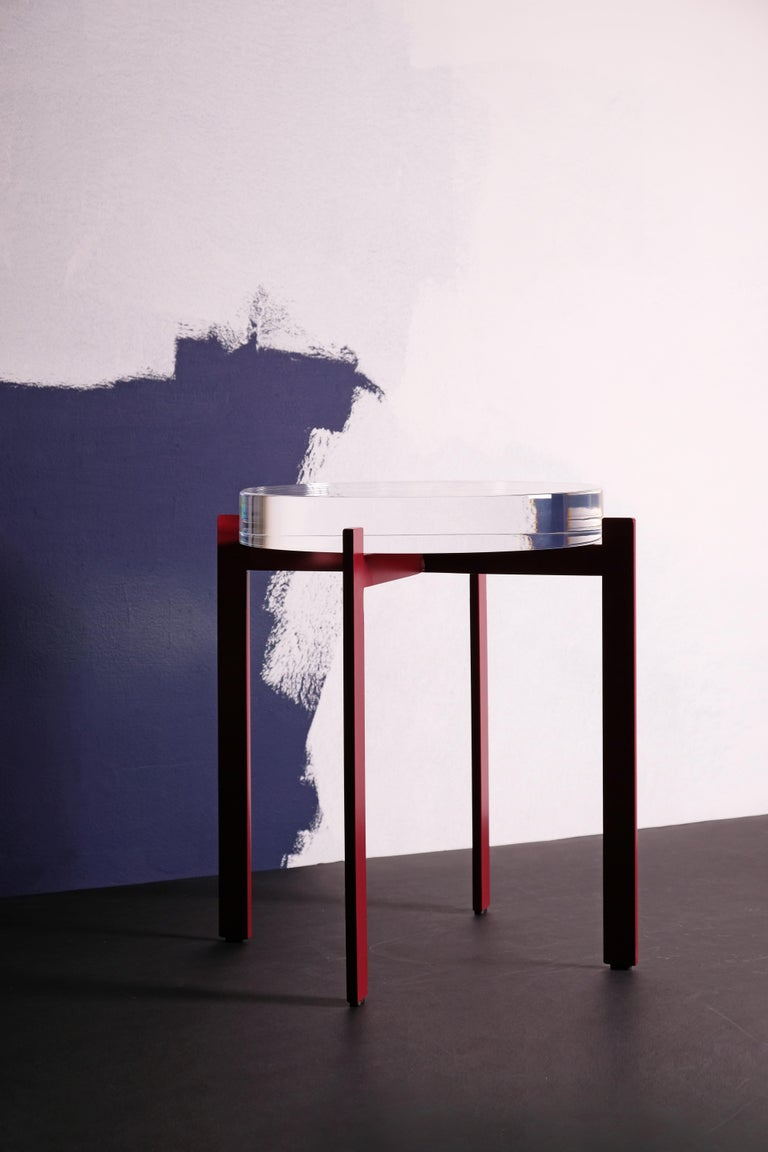 Black Metal Bedside Tables: T Of Top Side Or Bedside Table, Round Acrylic Top, Metal