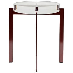 T of Top Side or Bedside Table, Round Acrylic Top, Metal Base, Red, Black Modern
